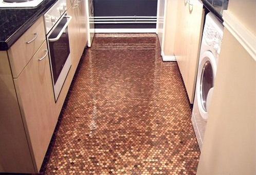 Küchenboden aus Münzen